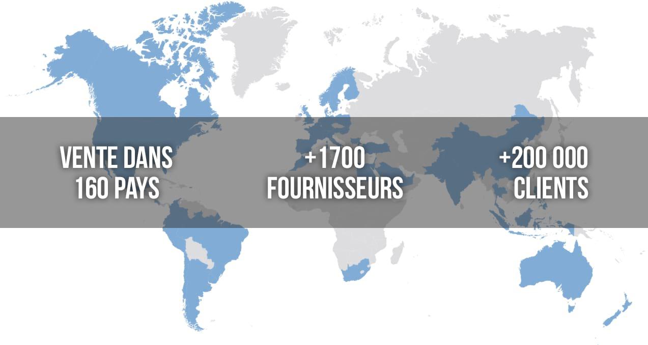 Vente dans 160 pays | 1700 fournisseurs | 200000 clients